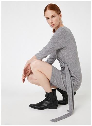 Koton Koton Bağlama Detaylı Uzun Kollu Elbise Gri